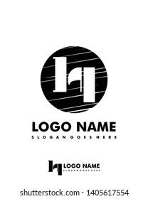 Initial LQ negative space logo with circle template