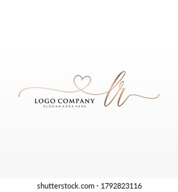 Initial LR beauty monogram and elegant logo design, handwriting logo of initial signature, wedding, fashion, floral and botanical with creative template.
