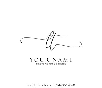Initial LT beauty monogram and elegant logo design, handwriting logo of initial signature, wedding, fashion, floral and botanical with creative template.