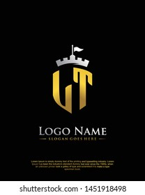 initial LT letter with shield style logo template vector