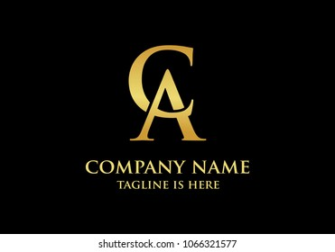 Initial luxury CA or AC letter logo design