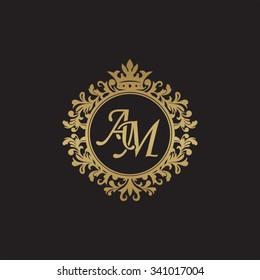 AM initial luxury ornament monogram logo