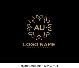Initial luxury vector logo design template letter AU