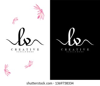 initial lv/vl handwriting logo template