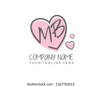 Initial M B with love logo template vector