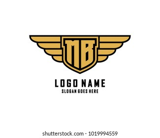 Initial M & B wing shield logo template vector