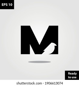 Initial M with bird silhouette logo company, logo vector template design. Ready to use, easy for edit.
