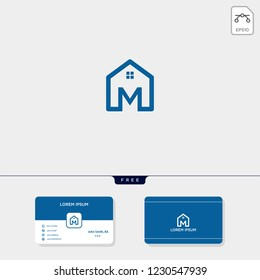 initial M creative logo template, minimalist logo for real estate corporate. vector illustration, business card design template include