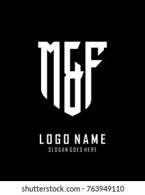 Initial M & F abstract shield logo template vector
