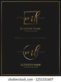 Initial M F MF handwriting logo vector. Letter handwritten logo template.