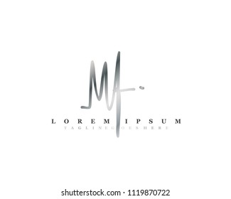 Initial M F signature logo, letter logo with copper color.