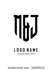 Initial M & J abstract shield logo template vector