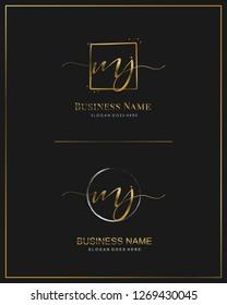 Initial M J MJ handwriting logo vector. Letter handwritten logo template.