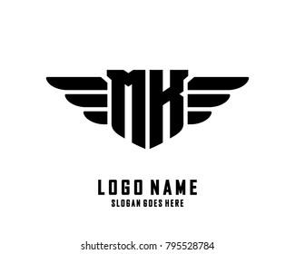 Initial M & K wing logo template vector
