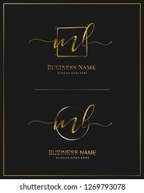 Initial M L ML handwriting logo vector. Letter handwritten logo template.