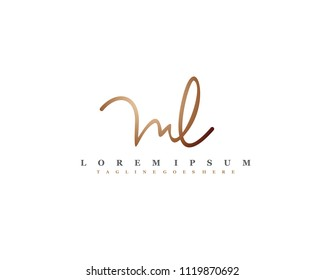 Initial M L signature logo, letter logo with copper color.
