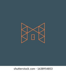 initial M letter logo house construction frame  design