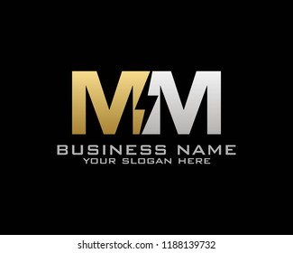 Initial M M logo concept with electric template vector
