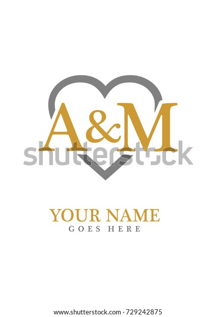 Initial M Love Background Logo Template Stock Vector Royalty Free 729242875