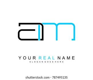 Initial A & M minimalist logo template vector