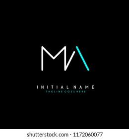 Initial M A minimalist modern logo identity vector