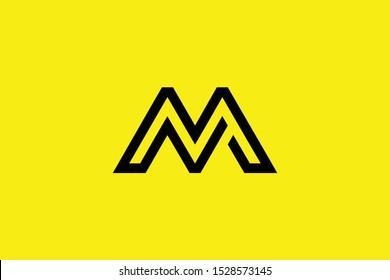 Initial M MM MN NM modern monogram and elegant logo design, Professional Letters Vector Icon Logo on black background.