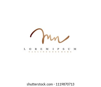 Initial M N signature logo, letter logo with copper color.