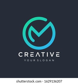 Initial M O logo design modern monogram and elegant with circle concept. logo the letter OM in the form of abstract line art. symbol for technology digital. - VECTOR