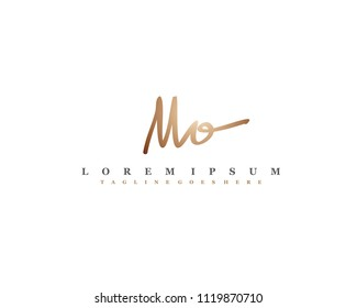 Initial M O signature logo, letter logo with copper color.