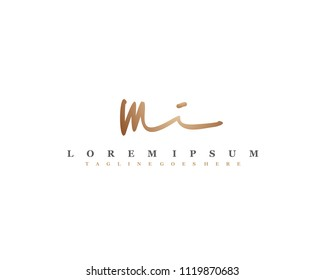 Initial M I signature logo, letter logo with copper color.
