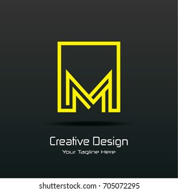 Initial M Square Framed Letter Logo Design Vector with Black and Yellow Colors