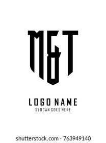 Initial M & T abstract shield logo template vector