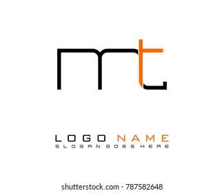 Initial M & T minimalist logo template vector