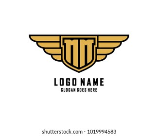 Initial M & M wing shield logo template vector