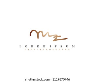 Initial M Z signature logo, letter logo with copper color.