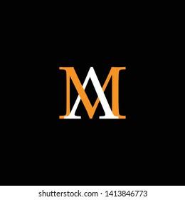 Initial MA AM letter logo design in black background
