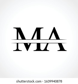 Initial MA letter Logo Design vector Template. Abstract Black Letter MA logo Design