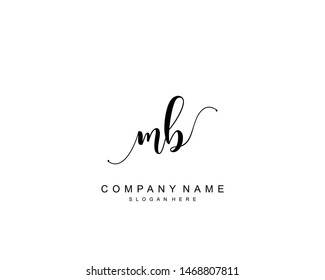Initial MB beauty monogram and elegant logo design, handwriting logo of initial signature, wedding, fashion, floral and botanical with creative template.