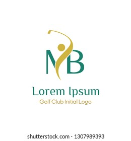 initial MB golf with golfer icon vector logo design illustration. letter MB symbol icon