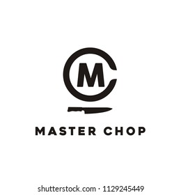 Initial MC with Knife for Chef/Chop logo design inspiration