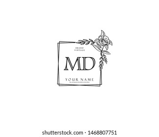Initial MD beauty monogram and elegant logo design, handwriting logo of initial signature, wedding, fashion, floral and botanical with creative template.