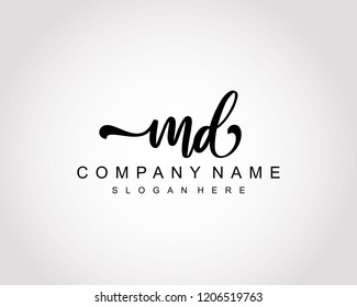 Initial MD handwriting logo vector