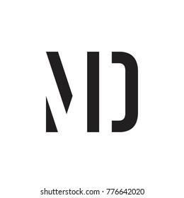 initial MD letter linked logo vector black