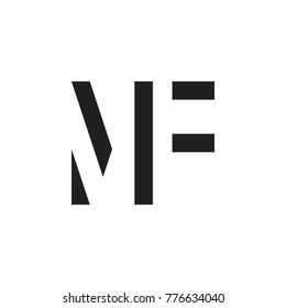 initial MF letter linked logo vector black