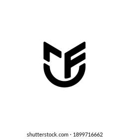 Initial MF Letter Round Logo Design Monogram Icon Vector Template. Logo rFU
