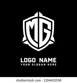 Initial MG abstract shield logo template vector