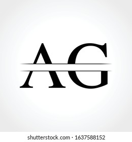 Initial Middle Line AG Letter Logo With Creative Typography Vector Template. Creative Abstract Letter AG Logo Design