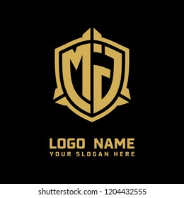 Initial MJ abstract shield logo template vector
