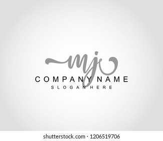 Initial MJ handwriting logo vector