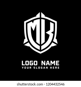 Initial MK abstract shield logo template vector